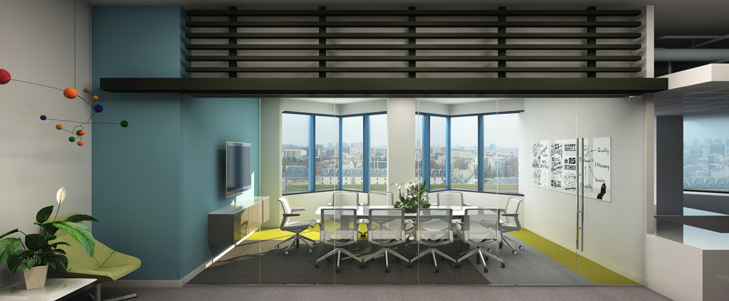 A digital rendering of the conference room